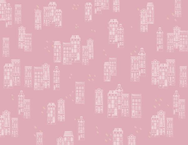 Fototapety Piccole case różowe odcienie | fototapeta dla dzieci