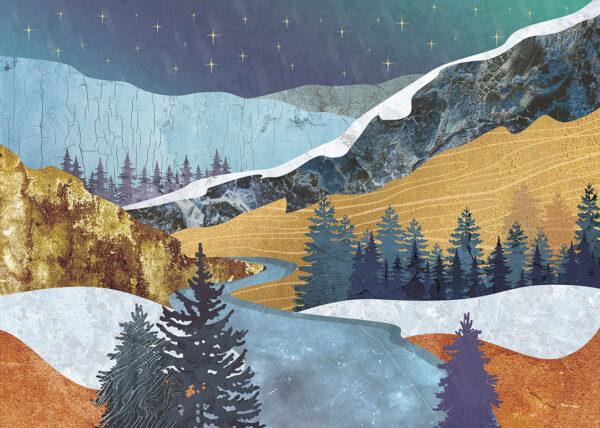Fototapety Verschneite Berge | las we mgle tapeta