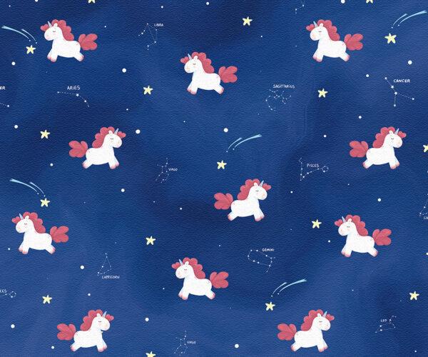 Fototapety Costellazione Unicorno ciemnoniebieskie odcienie | tapety do pokoju dziecięcego