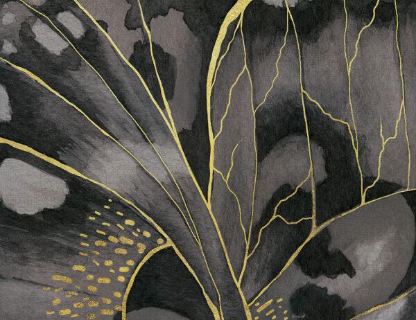 Fototapety Farfalla szare odcienie z żółtymi paskami   tapety 3d do salonu