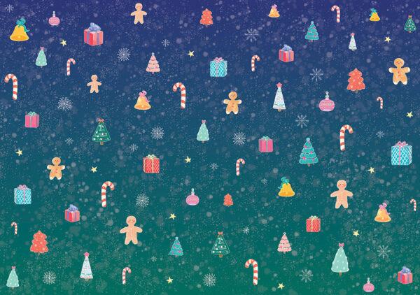 Fototapety Natale niebieskie odcienie | fototapeta 3d dla dzieci