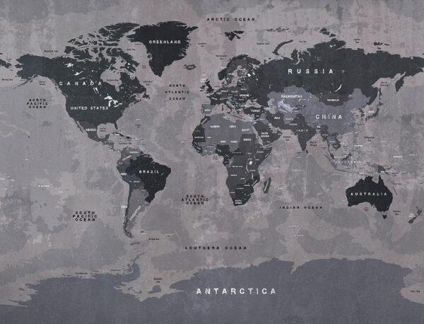 fototapeta 3d Fototapety Graphit Map ciemne i szare tło | mapa świata