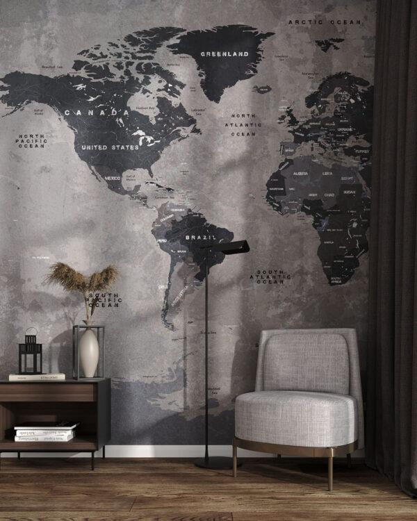 Fototapety Graphit Map | tapety do salonu