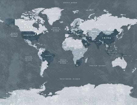 Fototapety Globetrotter z szarym tłem | fototapeta mapa świata