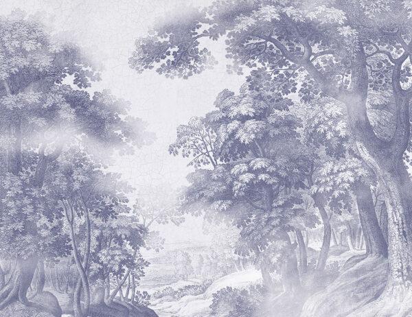 Fotapeta Bajkowy Las szaro-niebieskie odcienie | tapeta las