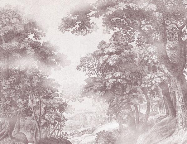 Fotapeta Bajkowy Las brązowy odcień | tapeta las