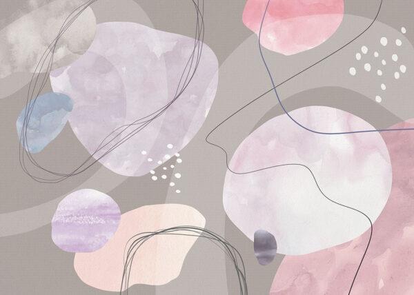 Fototapety projektantów Kringel kolor szary | tapety 3d do salonu