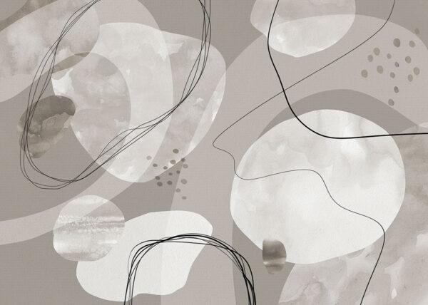 Fototapety projektantów Kringel szary kolor | tapety 3d do salonu