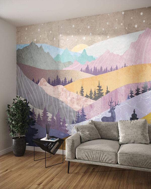 Fototapeta Kolorowe Góry | tapety 3d do salonu