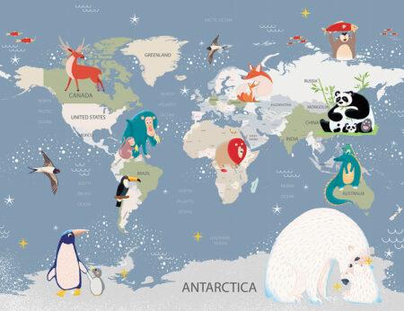 Fototapety Animal Map tapeta mapa świata z różnymi zwierzętami