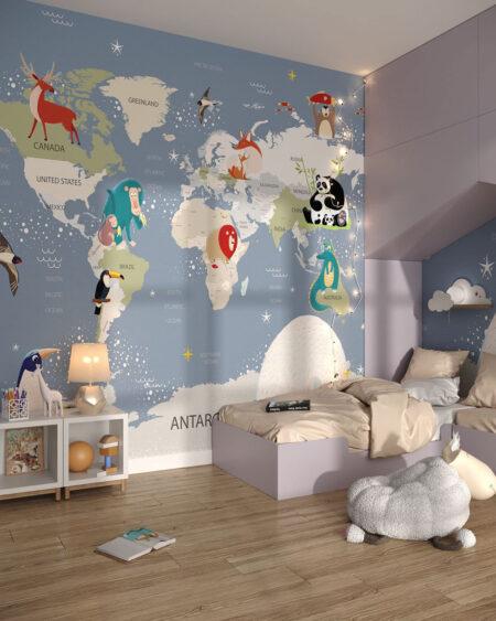 Fototapeta Mapa ze Zwierzętami | tapeta do pokoju dziecka