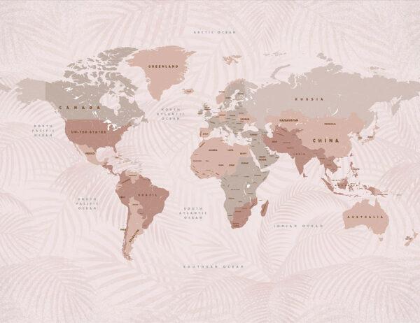 Fototapety Origini Beige różowy   fototapeta mapa świata
