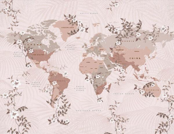 Fototapety Flower Borders | mapa świata z kwiatami i różowymi odcieniami
