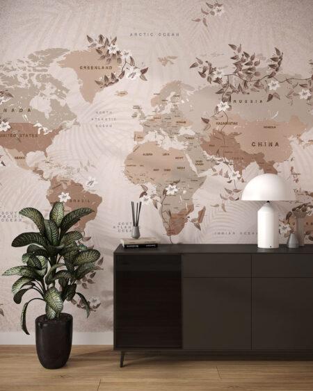 Fototapety Do Przedpokoju Flower Borders | fototapeta mapa świata
