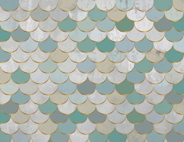Fototapety Turquoise scales zielono-szary odcień | tapety 3d