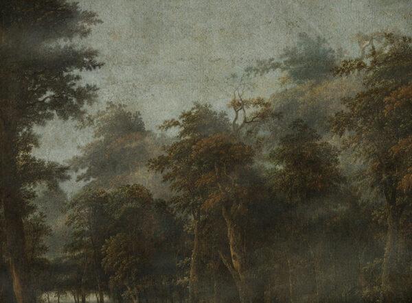 Fototapety Dunkler Wald zielone odcienie | tapeta las we mgle