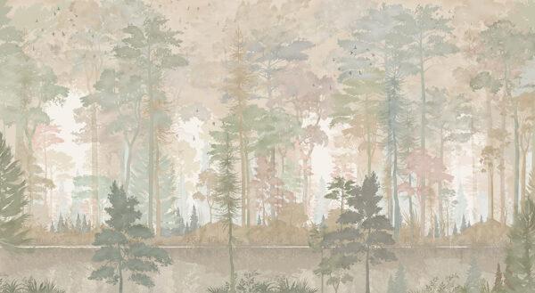 Fototapety Disegno Foresta żółte odcienie | fototapeta las we mgle