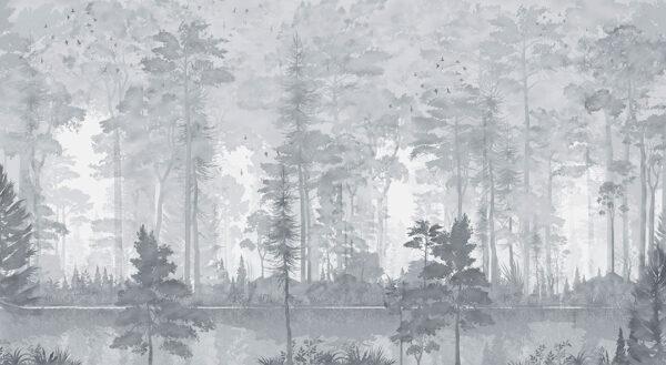 Fototapety Disegno Foresta szare odcienie | fototapeta las we mgle