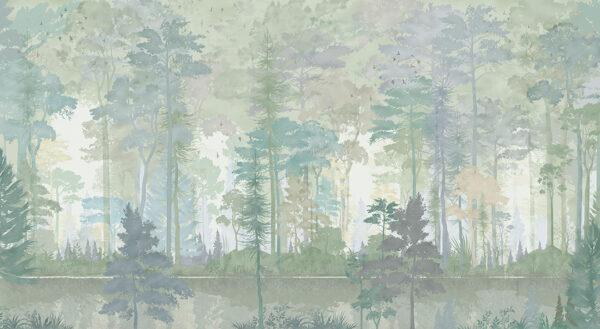 Fototapety Disegno Foresta zielone odcienie | fototapeta las we mgle