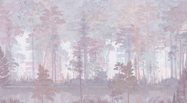 Fototapety Disegno Foresta fioletowe odcienie | fototapeta las we mgle