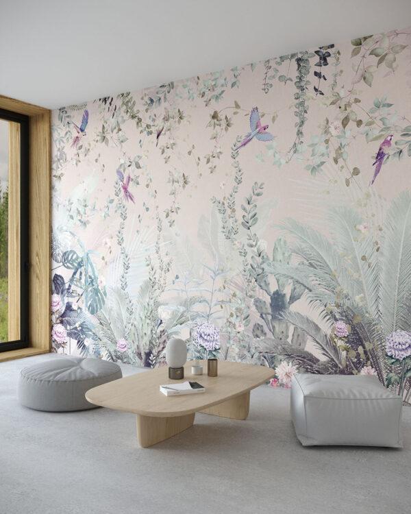 Fototapeta Tropikalne Liście z Papugami | tapety 3d do salonu