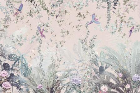 Fototapety Tropische Papageien Licht różowy odcień | fototapeta kwiaty