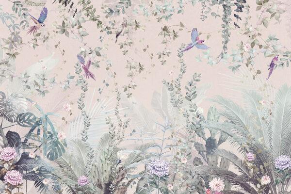 Fototapeta Tropikalne Liście z Papugami różowy odcień | fototapeta kwiaty