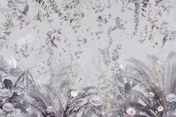 Fototapeta Tropikalne Liście z Papugami szare odcienie | fototapeta kwiaty