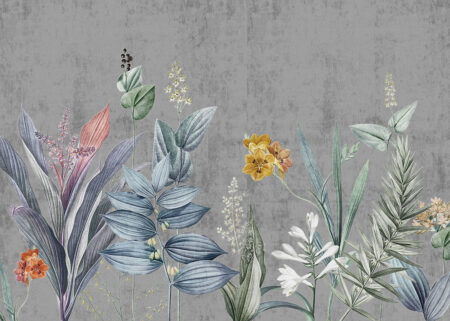 Fototapety Attendrissant na szarym tle | fototapeta kwiaty