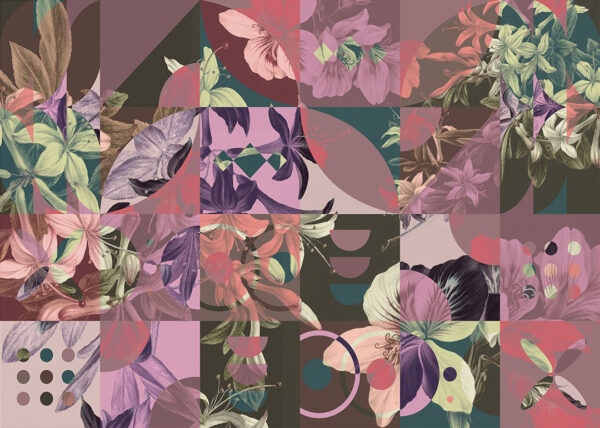 Fototapeta Kwiaty Mosaïque różowe odcienie | tapety młodzieżowe