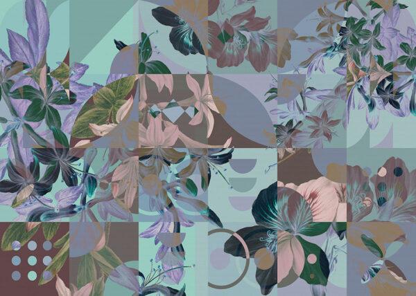 Fototapety Mosaïque niebieskie odcienie | fototapeta kwiaty