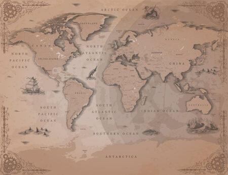 Fototapety Ancien brązowe odcienie | fototapeta mapa świata