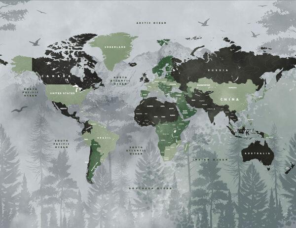Fototapety Ligneux odcienie zieleni na szarym tle | fototapeta mapa świata