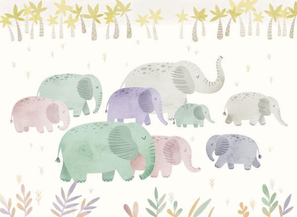 Fototapety L'éléphant białe tło z trawą | tapety na ścianę dla dzieci