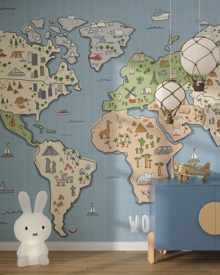 Fototapeta Mapa z Zabytkami Świata | fototapeta mapa świata