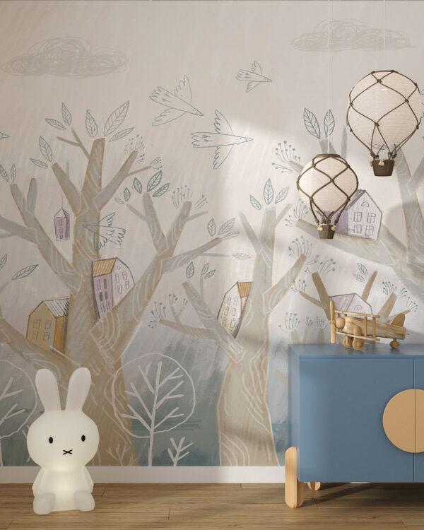 Fototapety Bajkowe Domy Na Drzewie | tapeta do pokoju dziecka