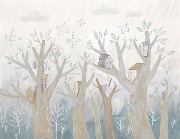 Fototapety Bajkowe Domy Na Drzewie niebieskie odcienie | tapeta do pokoju dziecka