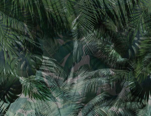 Fototapeta Gęsta dżungla zielone odcienie | tapeta 3d do łazienki