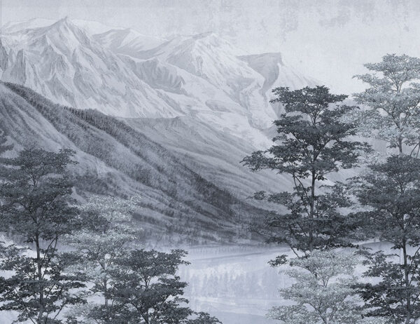 Fototapeta Vintage Góry i Las szaro-niebieski odcień | fototapety natura