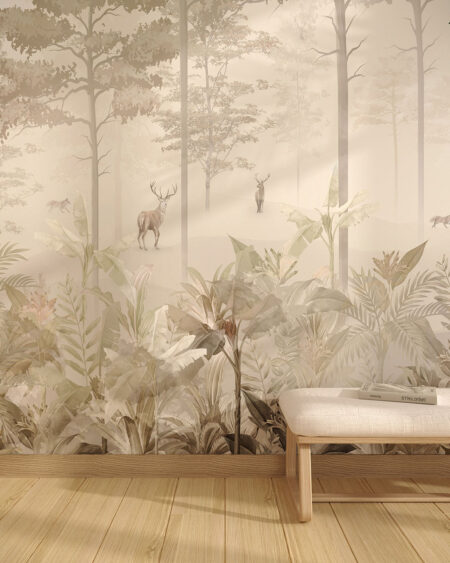 Tapeta las, kwiaty i zwierzęta jelenie na ścianie