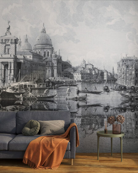 Fototapeta Wenecja miasto na szarym tle z sofą w salonie