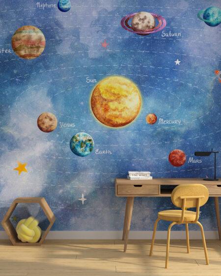 Fototapeta układ słoneczny w pokoju dziecięcym
