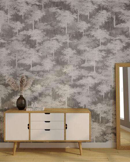 Fototapeta las, dużo szarych drzew w sypialni