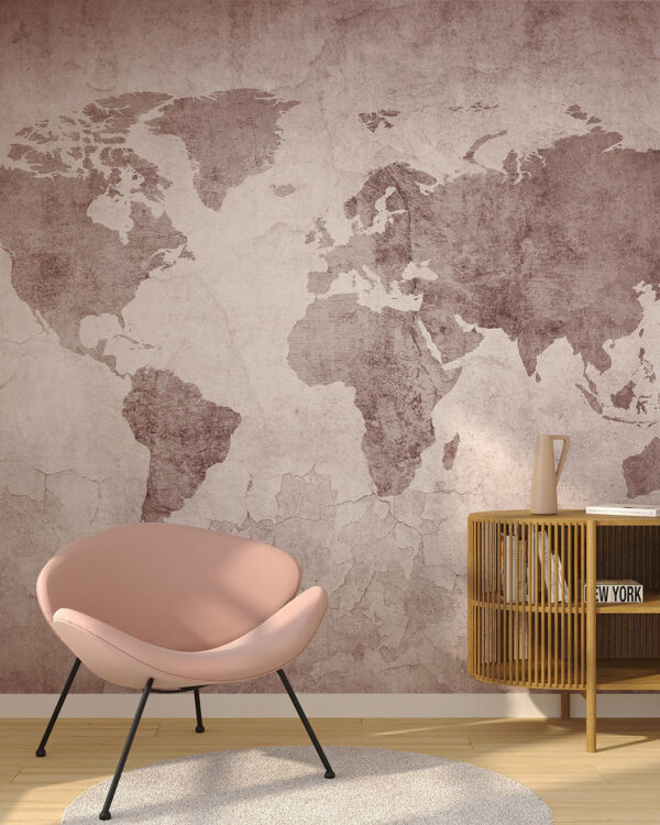 fototapeta mapa świata w stylu loftu z czerwonym odcieniem z krzesłem w sypialni.