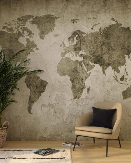 fototapeta mapa świata w stylu loftu na ciemnozielonym tle z krzesłem w sypialni.