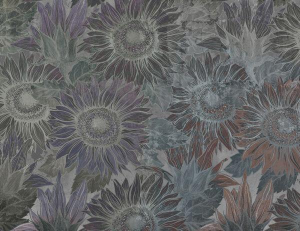 Fototapeta Sunflower szare odcienie | Fototapety z Kwiatami
