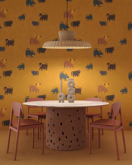 Fototapeta Zubryk wiele różnych zwierząt do pokoju