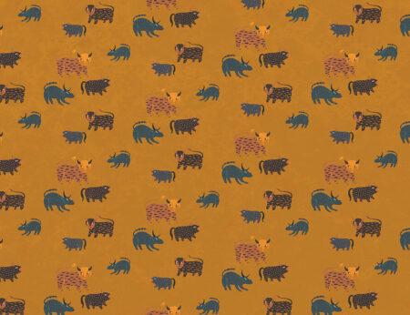 Fototapeta Zubryk wiele różnych zwierząt na żółtym tle