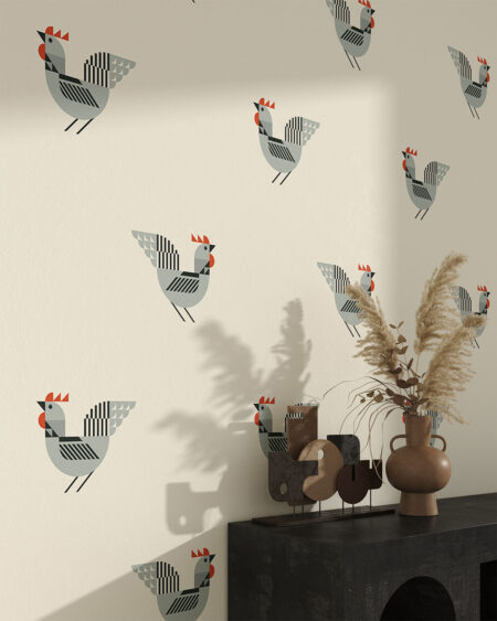 Fototapeta ręcznie rysowane szare koguciki na beżowym tle do salonu