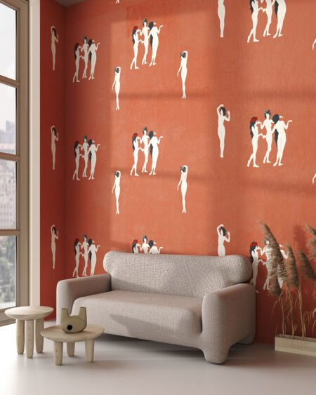 Fototapeta sztuka kobiety na czerwonym tle do salonu
